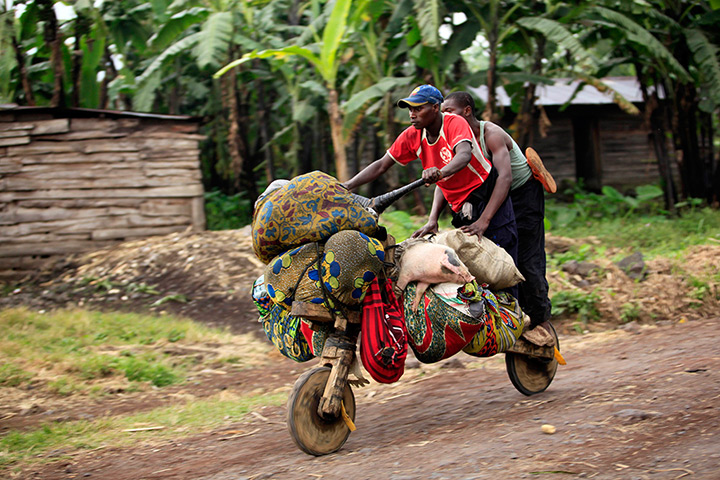 Goma, Democratic Republic of Congo: People flee from renewed fighting